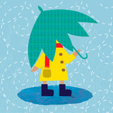 Child in raincoat under umbrella. EPS 10 Royalty Free Stock Photography