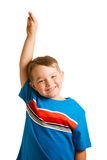 Child raising his hand isolated on white Stock Photo