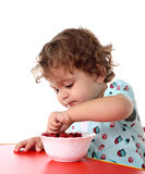 Child with raspberry Stock Photography
