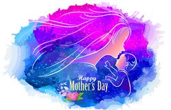 A child reaching out to his mother. A silhouette of a mother kissing her child and a sky background full of stars royalty free illustration