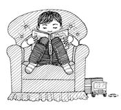 Child reading. Ink drawing of a small boy reading a book Stock Image