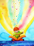 Child reading big book with imagination and fun, watercolor painting. Design illustration Royalty Free Stock Photography