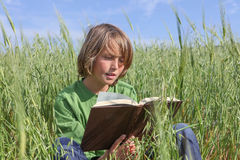 Child reading book or bible outdoors. Royalty Free Stock Images