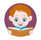 Child reading a book. Illustration of a child reading a book Stock Photo