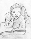 Child reading a book - pencil sketch Royalty Free Stock Images
