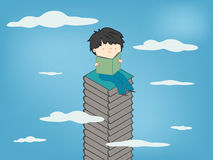 Child reading a book sitting on stack of books up to sky for children culture growth. Vector illustration Stock Photos