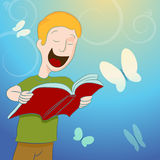 Child Reading Book Surrounded By Butterflies Stock Photo