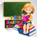 Child reading books royalty free illustration