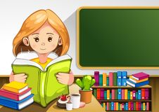 Child reading books stock illustration