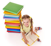 Child reading open book. Royalty Free Stock Photo