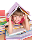 Child reading open  book on table. Stock Photography