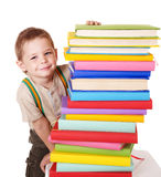 Child reading stack of books. Royalty Free Stock Photos