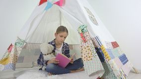 Child Reading, Studying in Playroom, Kid Playing at Playground, Learning Girl stock images