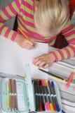 Child reading writting stock photos