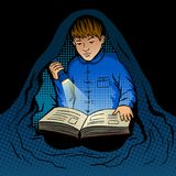 Child reads book at night pop art vector Stock Images