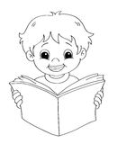Child that reads - BW Royalty Free Stock Photography