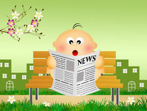 Child reads news Royalty Free Stock Images