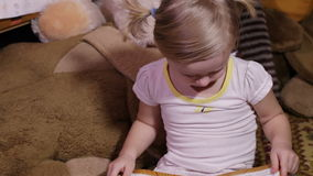 Child reads stock video footage
