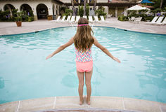 Free Child Ready To Play In A Big Swimming Pool Stock Image - 84147661