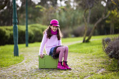 Child ready for travel Stock Image
