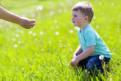 Child receiving a dandelion in the field Stock Images
