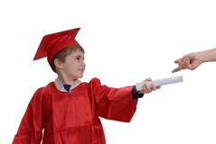 Child receiving his diploma Stock Photos
