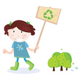 Child with recycle sign Royalty Free Stock Photography