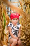 Child in red bandana and stripe tee sits on a pumpkinin the cornfield. dry corn. stock photography