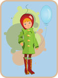Child in red hat with a balloon Royalty Free Stock Photo