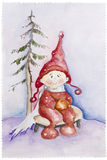 Child in red hat in winter forest Royalty Free Stock Images