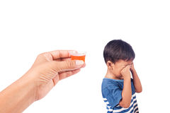 Child refused to take medication Royalty Free Stock Images
