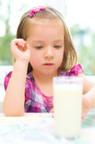 Child refuses to drink milk Royalty Free Stock Photography