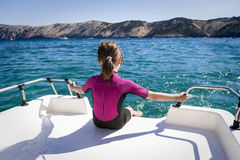 Child Relax on Boat Stock Image