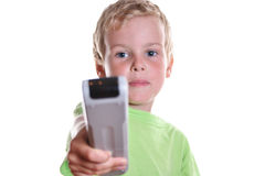Child with remote control stock images