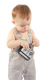 Child with a remote-control station Stock Photos