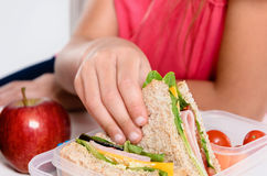 Child removing wholemeal sandwich out of lunchbox Royalty Free Stock Photo