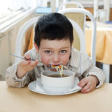 Child at restaurant Royalty Free Stock Photo