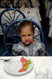 Child at restaurant table Royalty Free Stock Photography