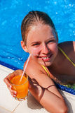 Child resting in a pool. Stock Images