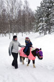 Child ride a pony in winter park Stock Photography