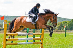 Child-rider with horse jumps over a hurdle Stock Images