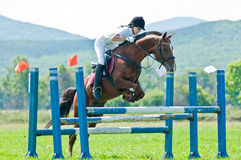 Child-rider with horse jumps over a hurdle Stock Image