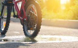 The child is riding a bicycle close-up passing through a puddle and splashing water in the rays of the setting sun in the autumn d. Ay stock images