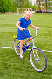 Child riding a bicycle Stock Photo