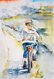 Child riding a bicycle. Illustration of a child riding a bicycle in the village, vector made from watercolor stock illustration