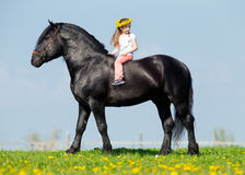 Child riding a big horse in field Royalty Free Stock Photos