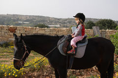 Child riding a horse. 3 year old girl riding a horse Stock Images