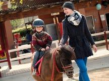 Child riding on a pony stock photo