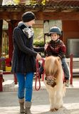 Child riding on a pony. Mother riding her son on a pony wearing protective helmet Stock Photography