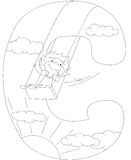 Child riding on a swing. Letter C. Coloring book Stock Photography